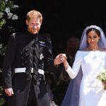 Meghan Markle, luciendo un maquillaje natural y deslumbrante junto a su marido, el príncipe Harry, el día de su boda